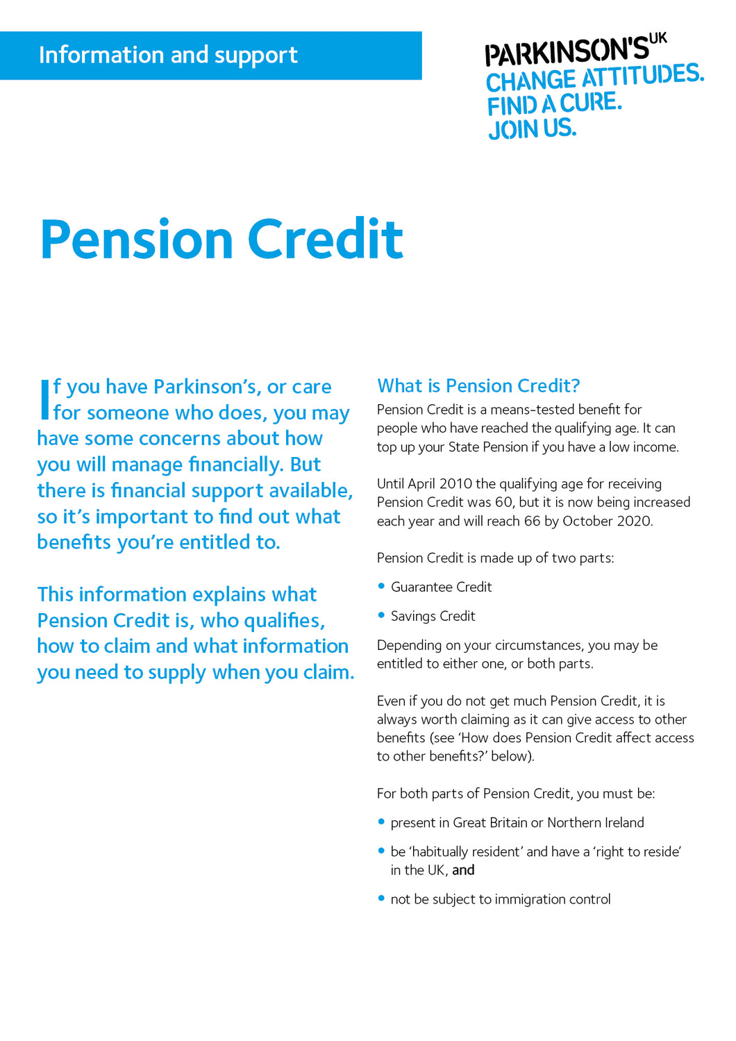 Pension Credit - Parkinson's shop