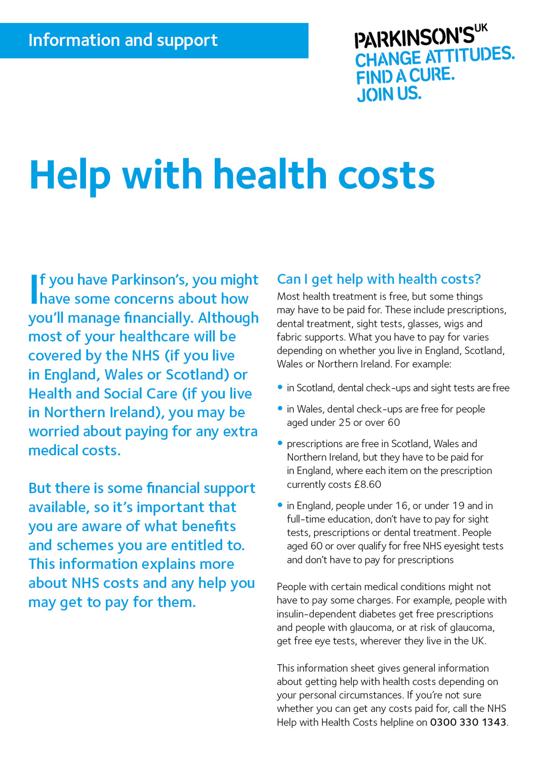 Help with health costs - Parkinson's shop