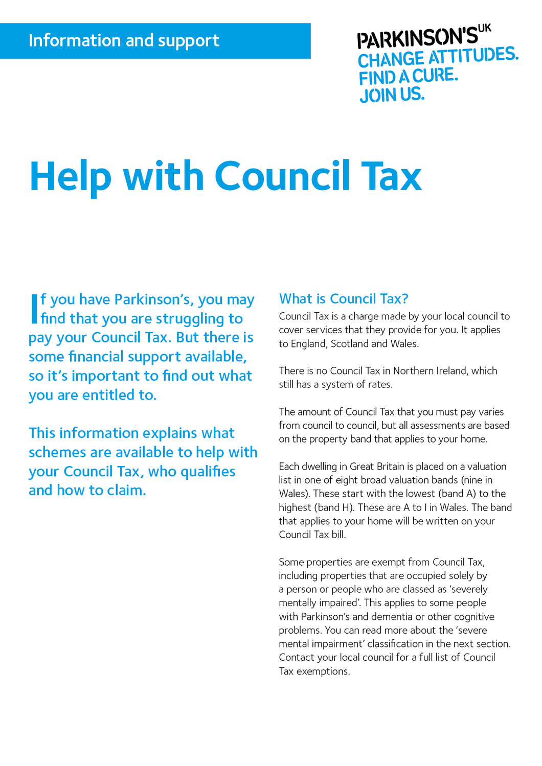 Help with Council Tax - Parkinson's shop