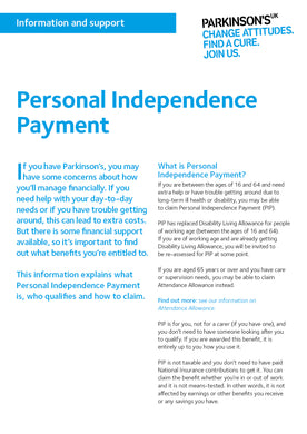 Personal Independence Payment - Parkinson's shop