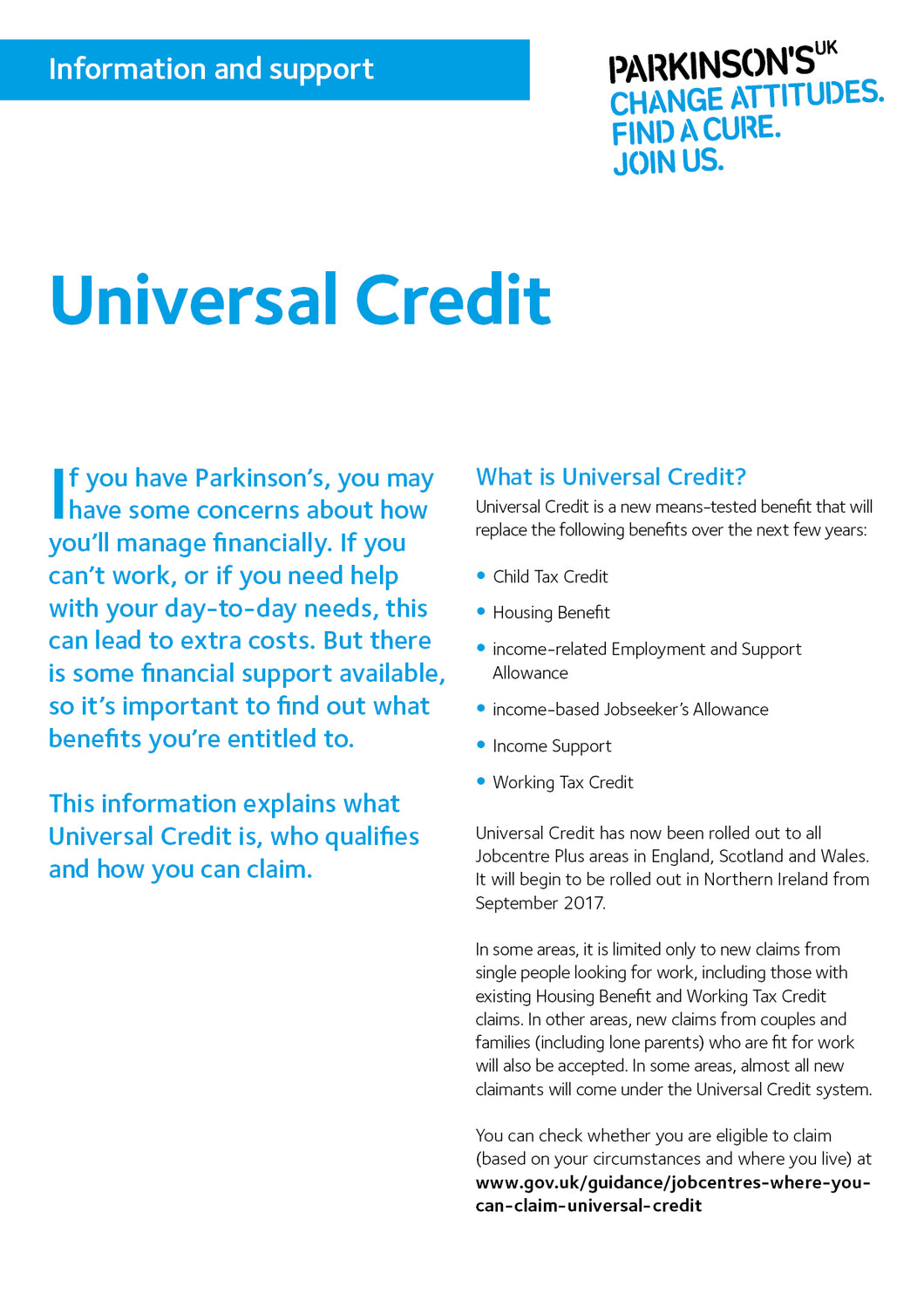 Universal Credit - Parkinson's shop