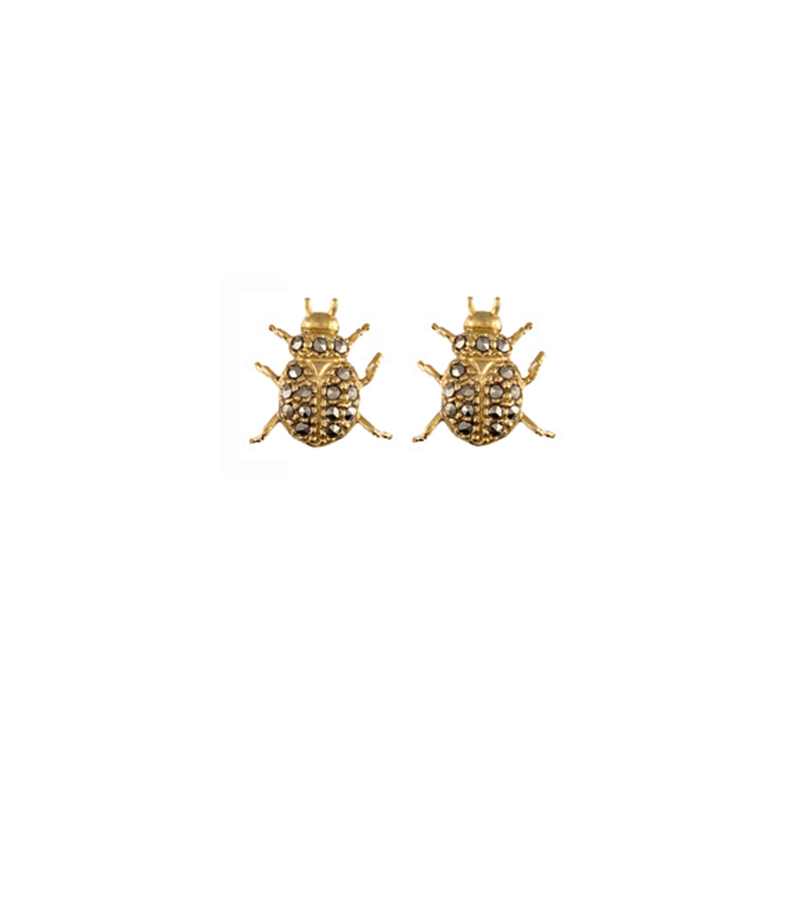 Aretes Beetle Earrigns Gold Silver