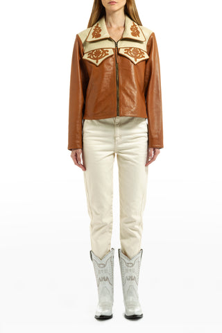 LEATHER BLAZER CAMEL