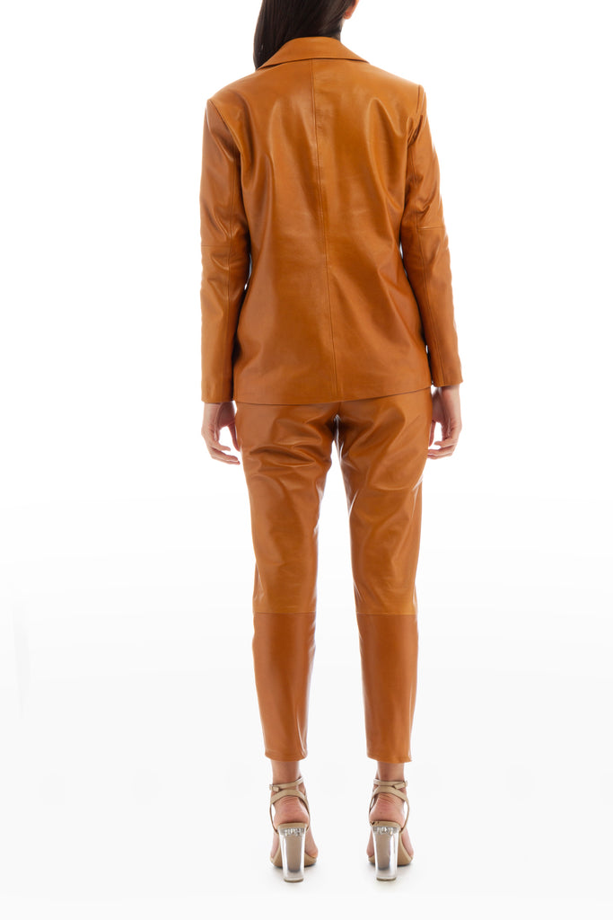 LEATHER PANTS CAMEL