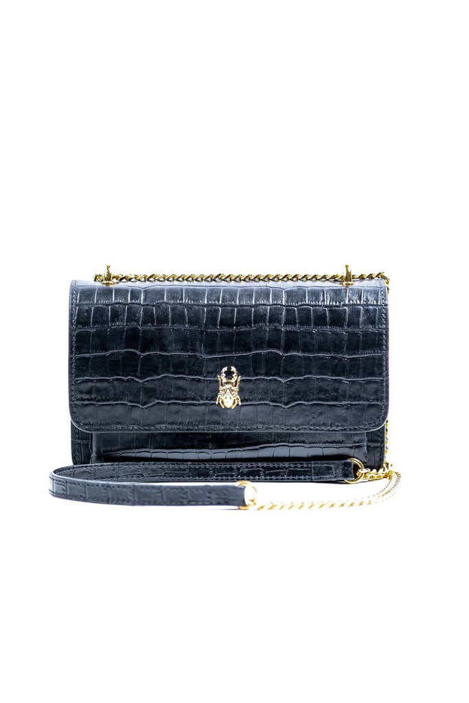 QUETONIA BAG CROCO NEGRO