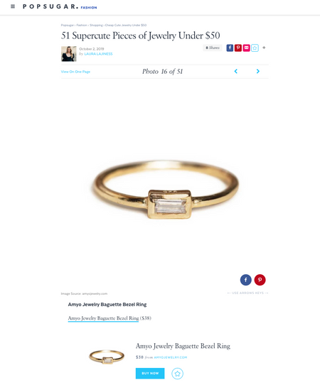 PopSugar: Supercute Pieces of Jewelry Under $50 | Gold Baguette Ring