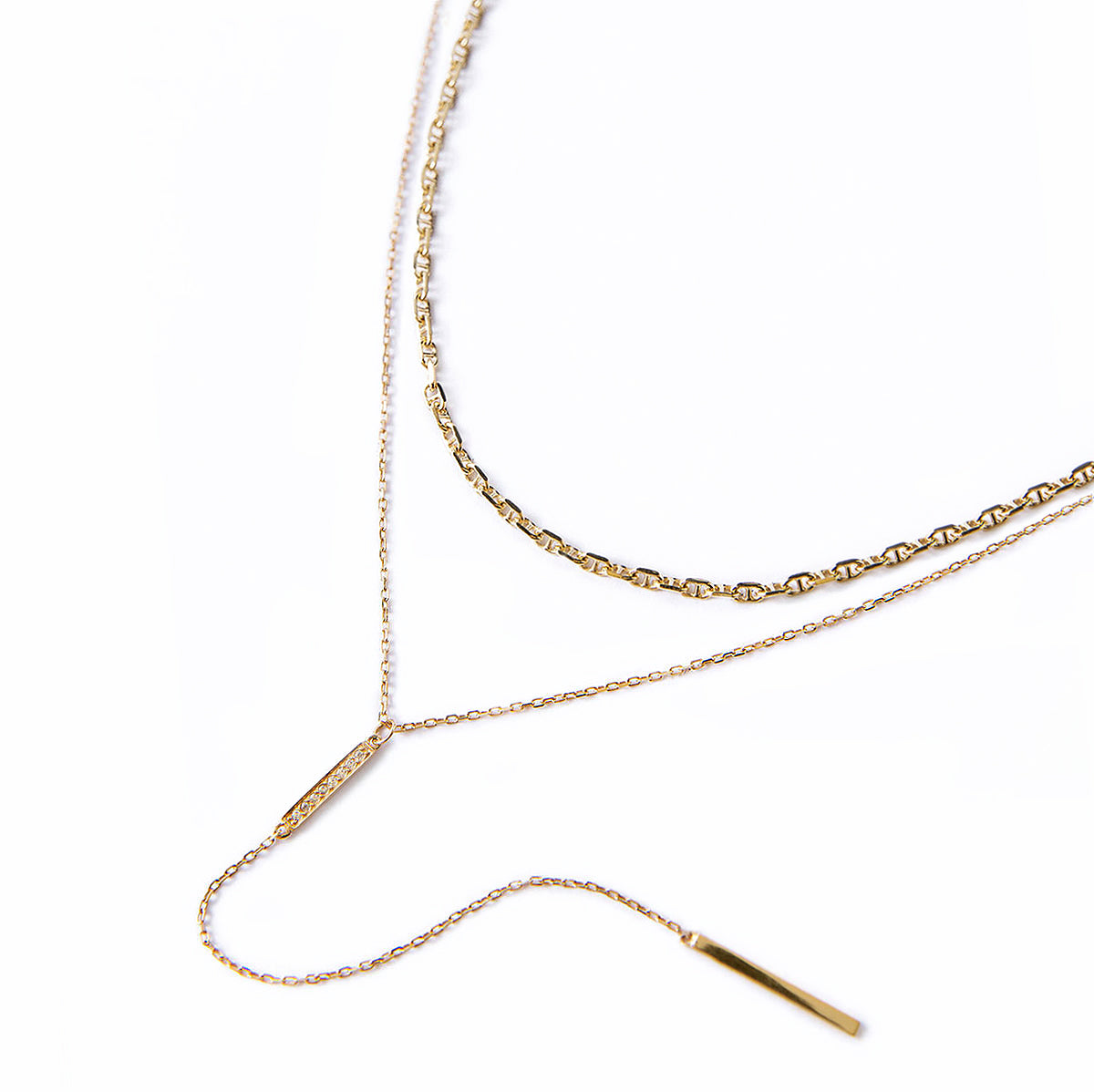 Gold Marina Chain and Bar Lariat Layered Necklace