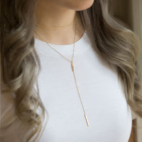 Chain and Bar Lariat Gold Layered Necklace with Plain White Tee