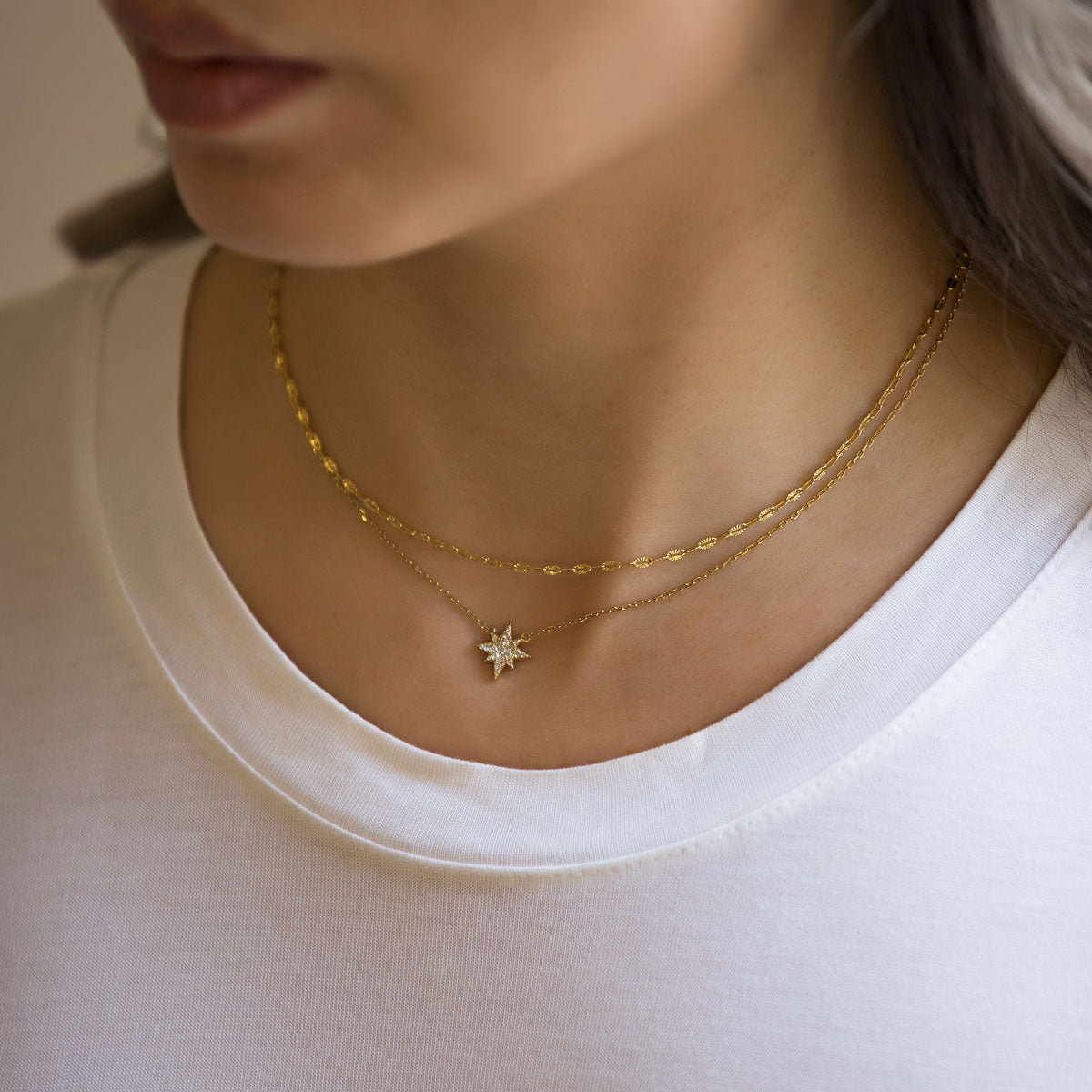 Gold Chain Star Choker Layered Necklace