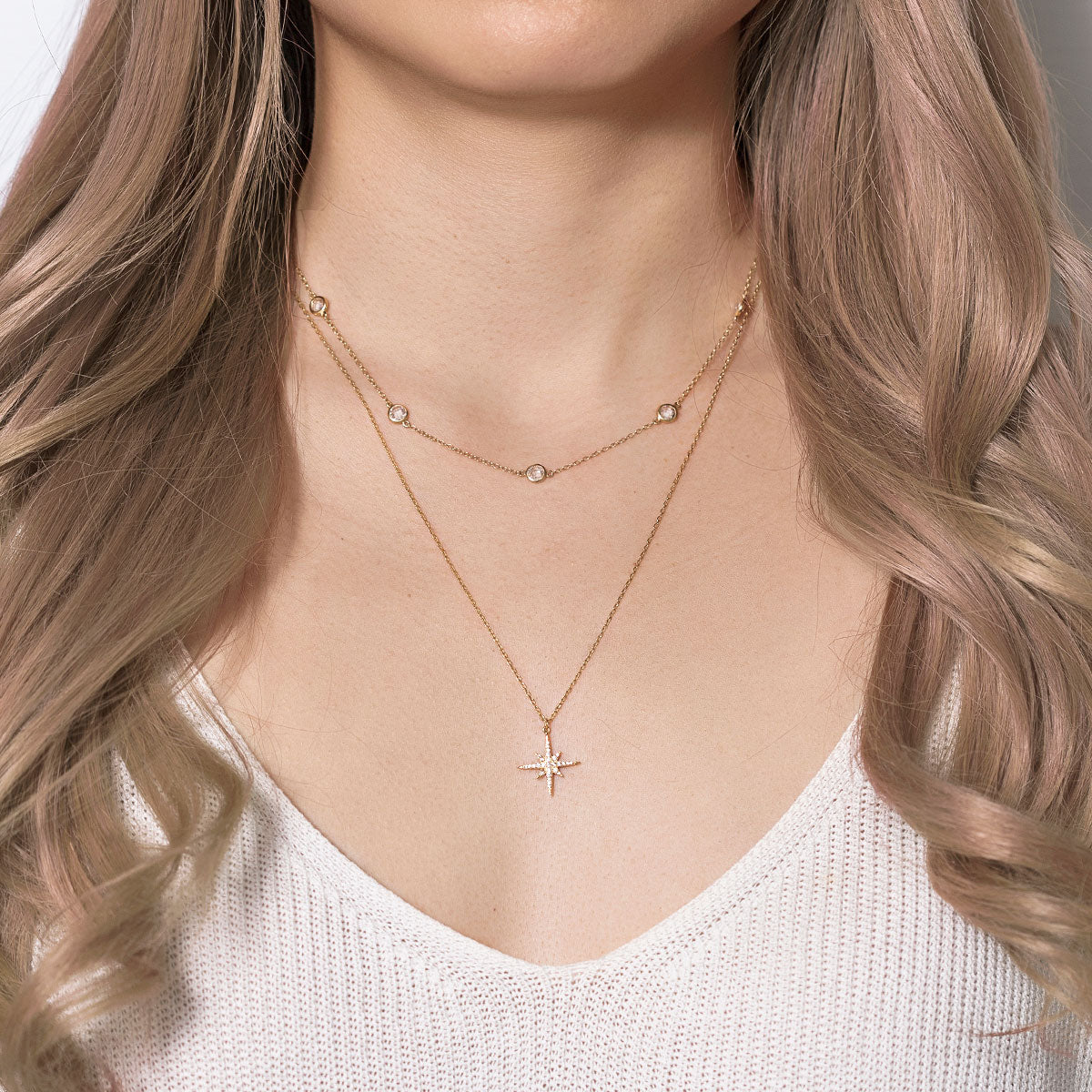 Celeste Crystal Chain Layered Duo