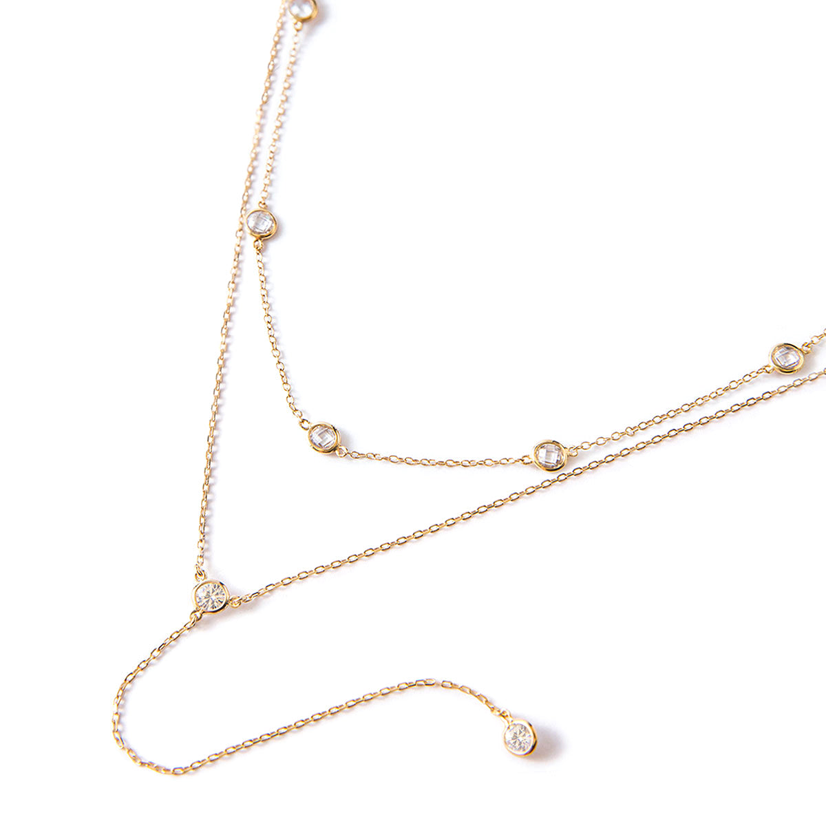 Crystal Choker Lariat Duo Necklace