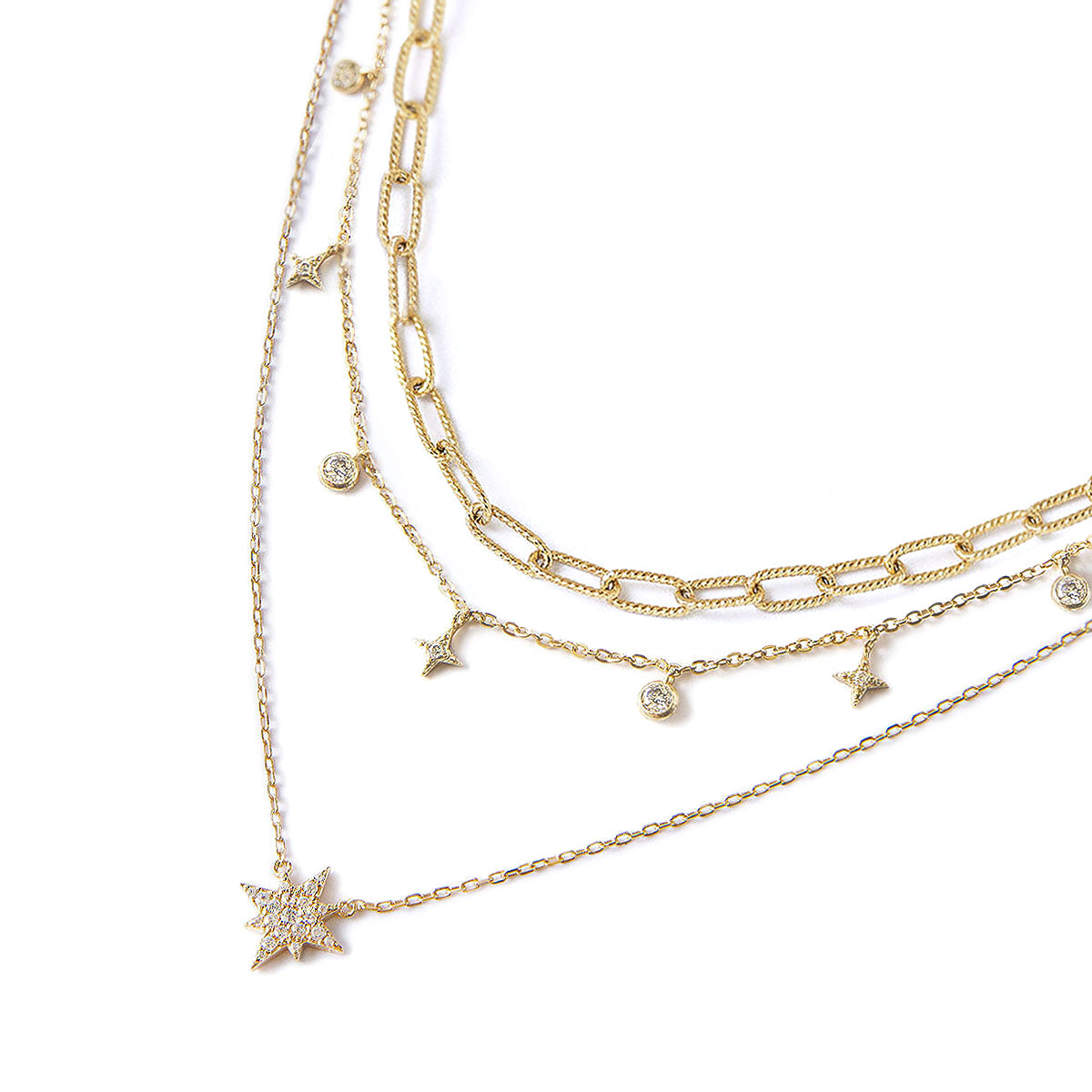 Link Chain Dangle Starburst Layered Trio