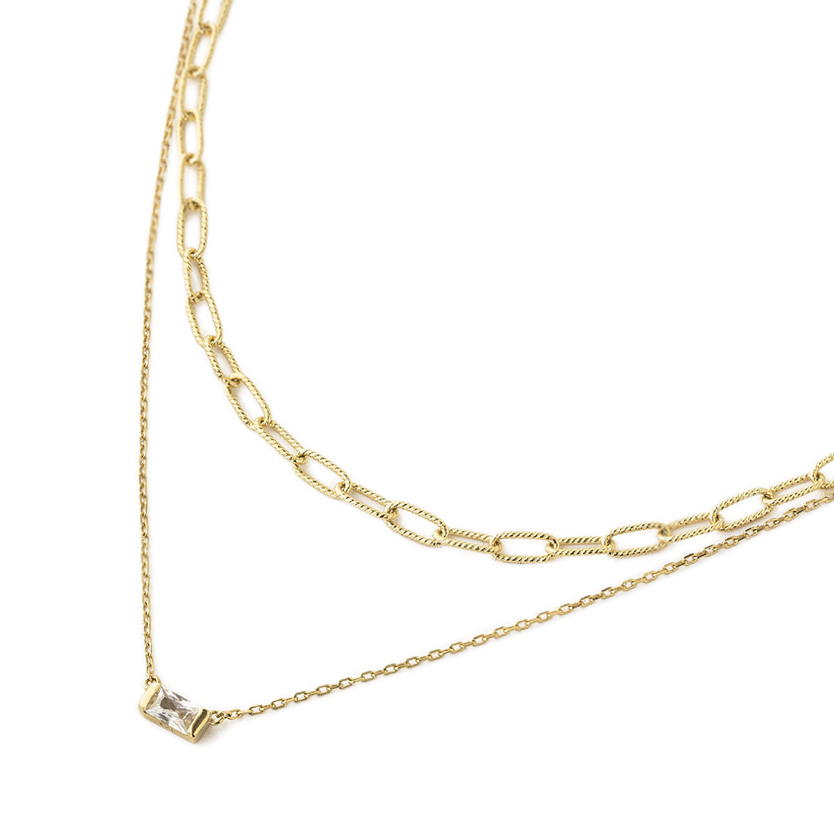 Link Chain Baguette Duo Necklace