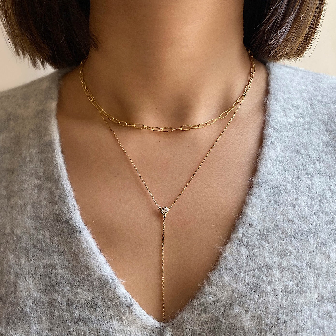 Link Chain Lariat Layered Duo