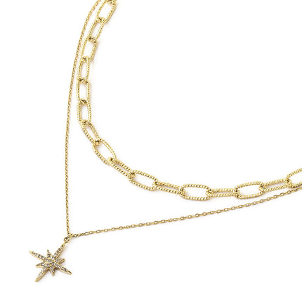 Chunky Link Chain Star Duo Necklace