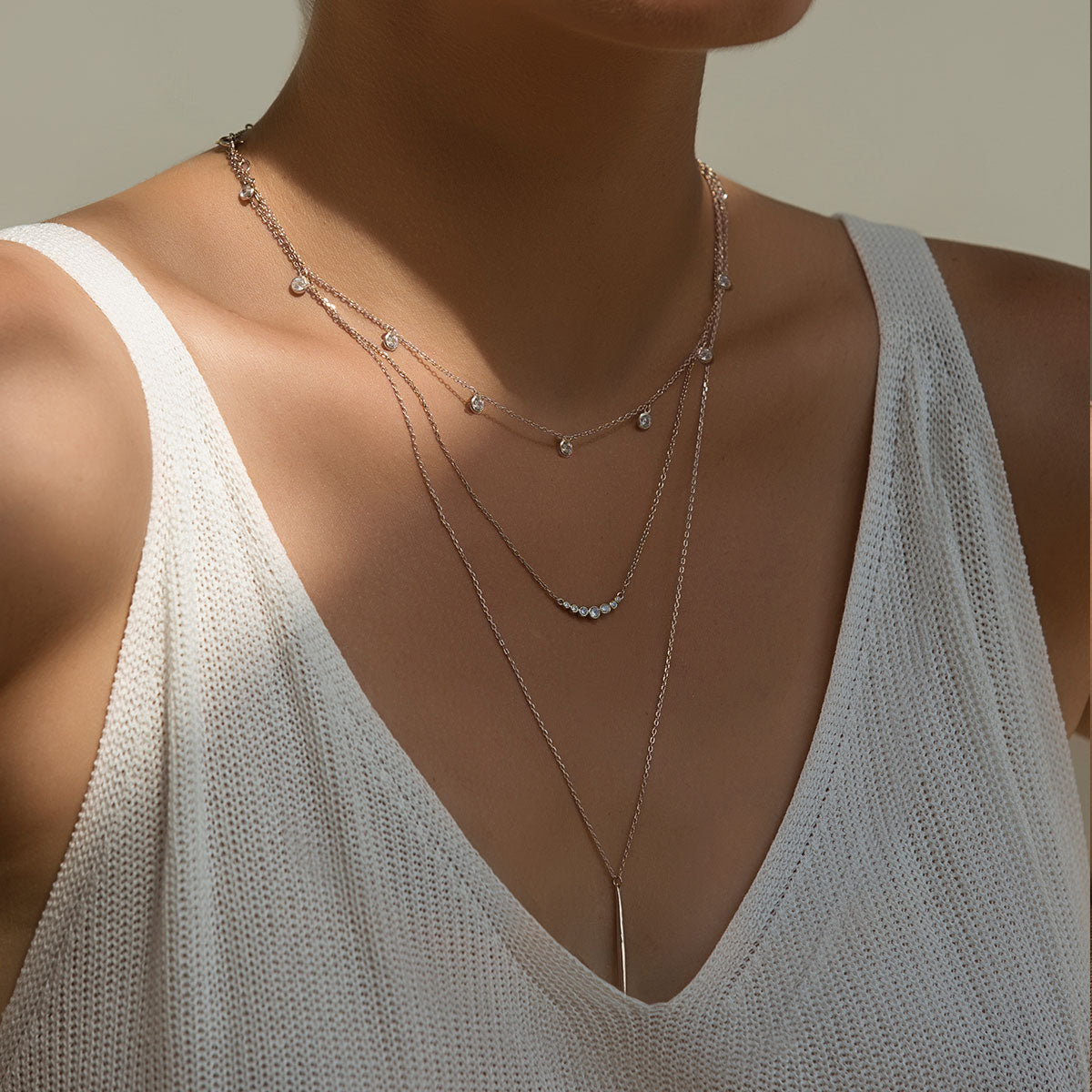 Crystal Curved Bar Necklace