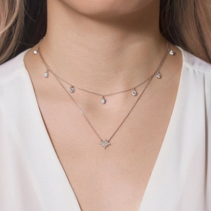 Dangle Choker Starburst Layered Duo
