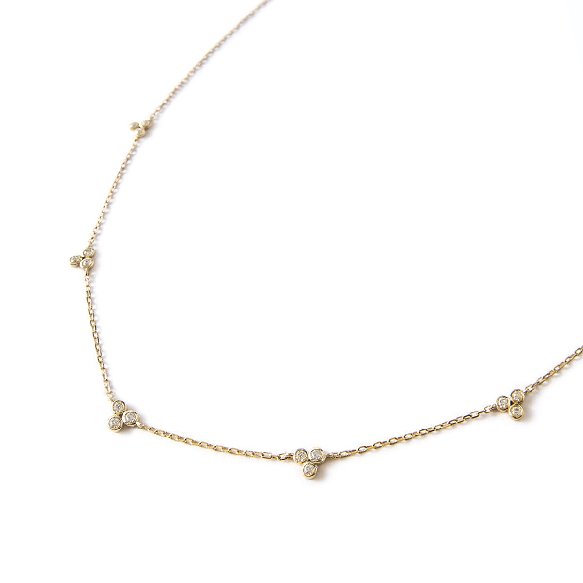 Gold Clover Crystal Necklace