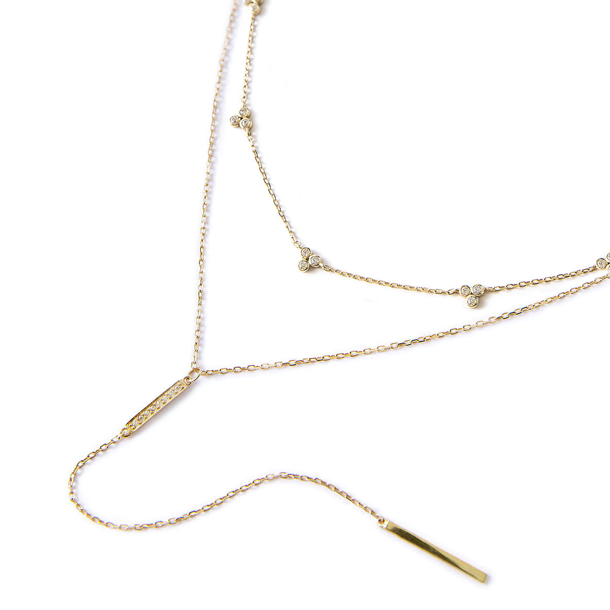 Gold Clover and Bar Lariat Layered Necklace