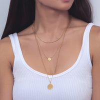Gold Disc and Coin Layered Necklace Set