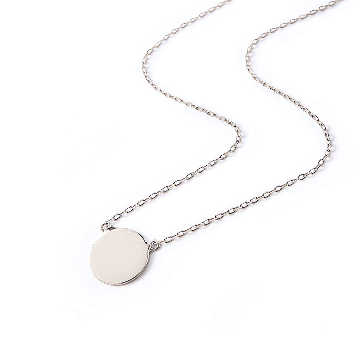 Small Sterling Silver Circle Disc Pendant Necklace