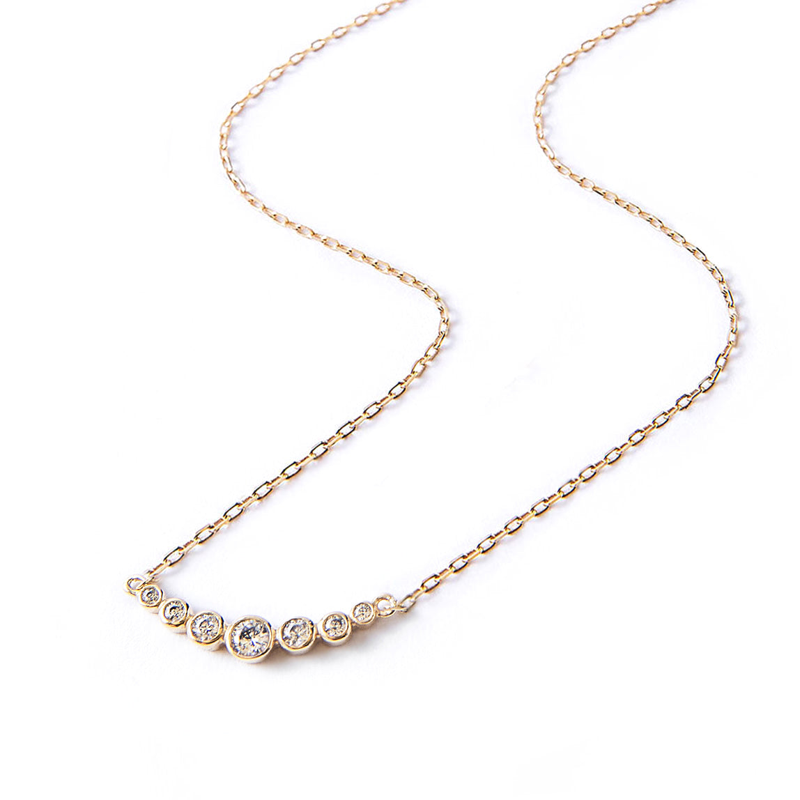 Gold Vermeil Crystal Curved Bar Pendant Necklace