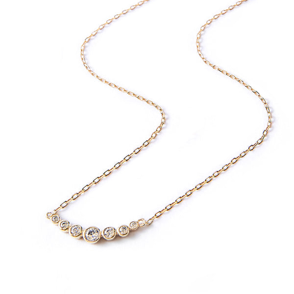 18 Curved Bar Necklace Sterling Silver Chain Necklace Clear Crystal Quartz Bar Necklace Minimalist Curved Bar