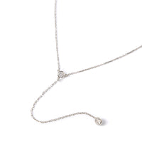 Sterling Silver Crystal Y Lariat Necklace