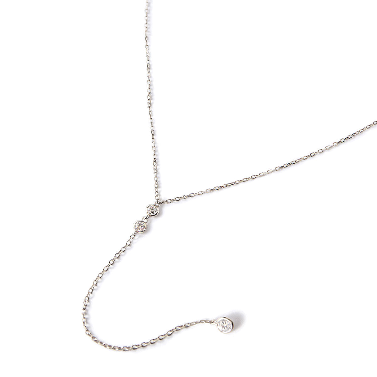 Duet Crystal Lariat Necklace