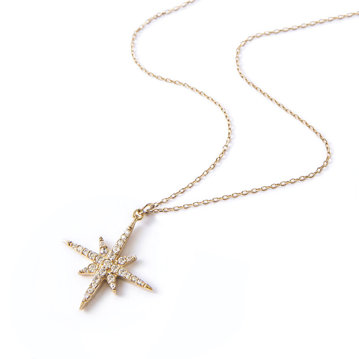 Pave Gold Star Pendant Necklace