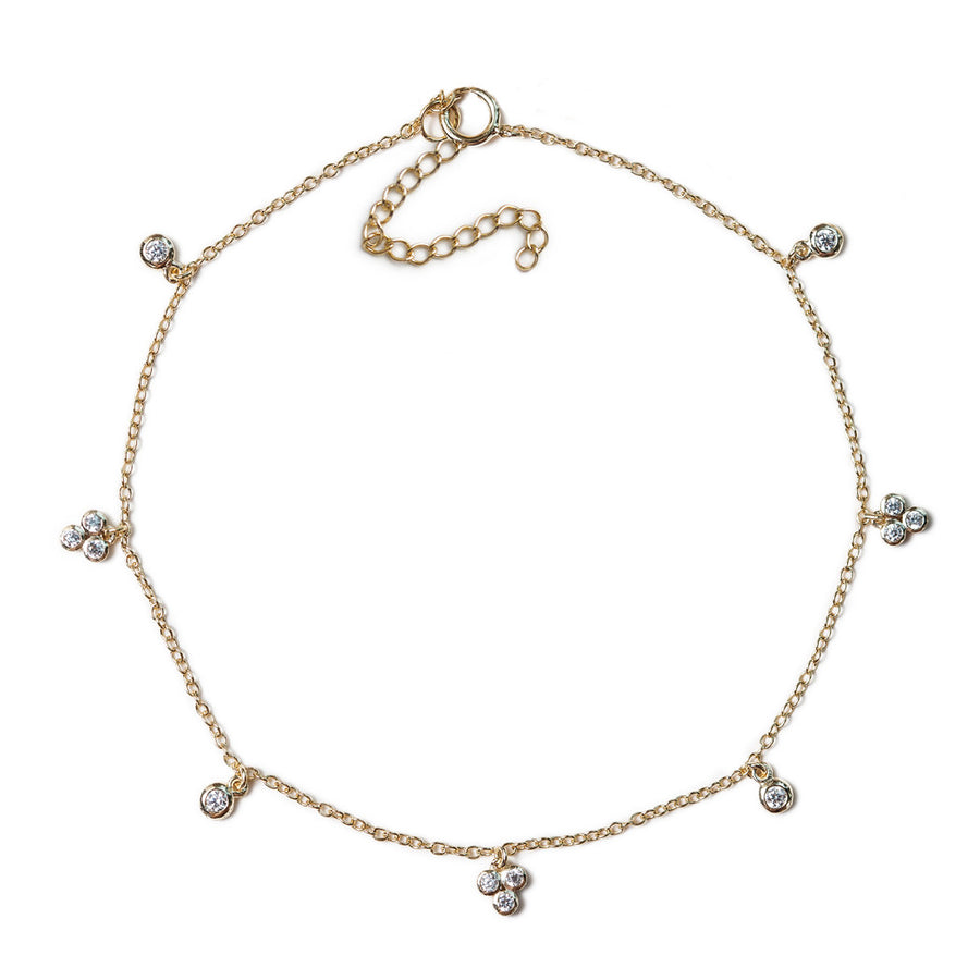 Clover Crystal Anklet, Anklets - AMY O. Jewelry