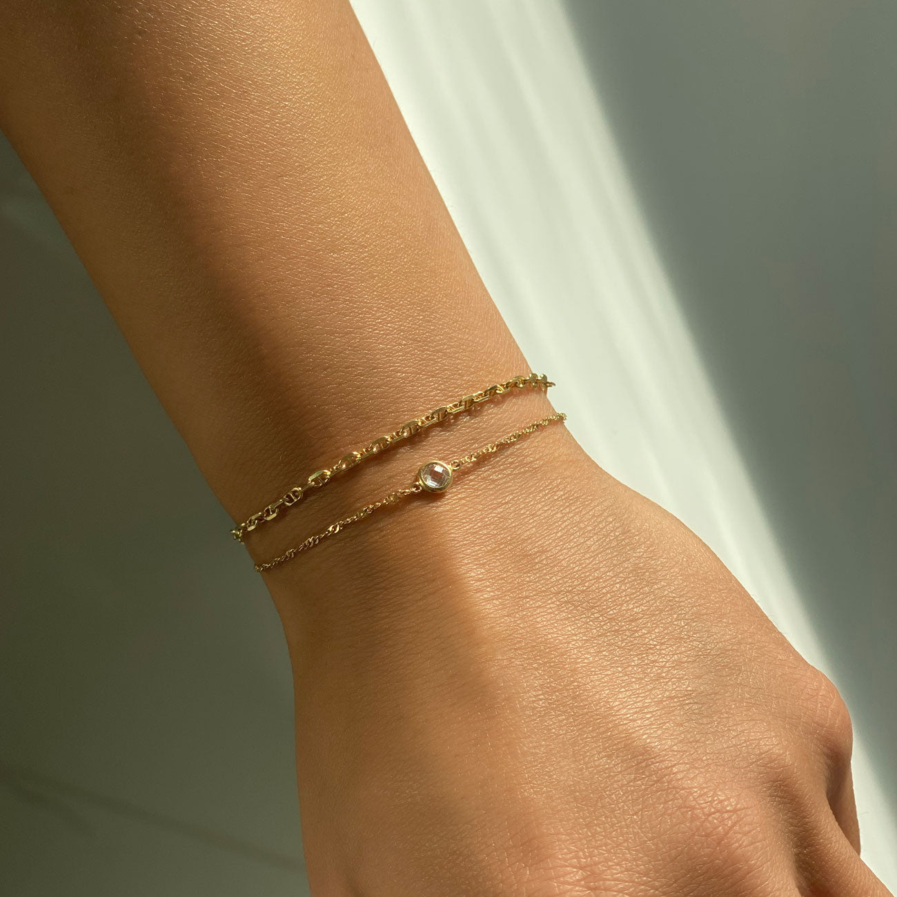 Gold Marina Chain and CZ Crystal Bracelet Stack