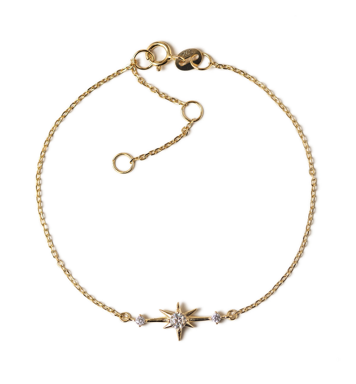 Dainty Star Charm Bracelet with CZ Crystals