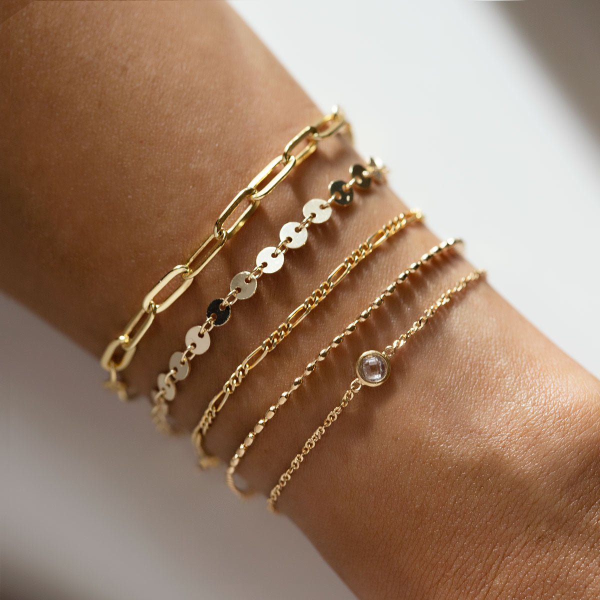 Solitaire Singapore Chain Bracelet