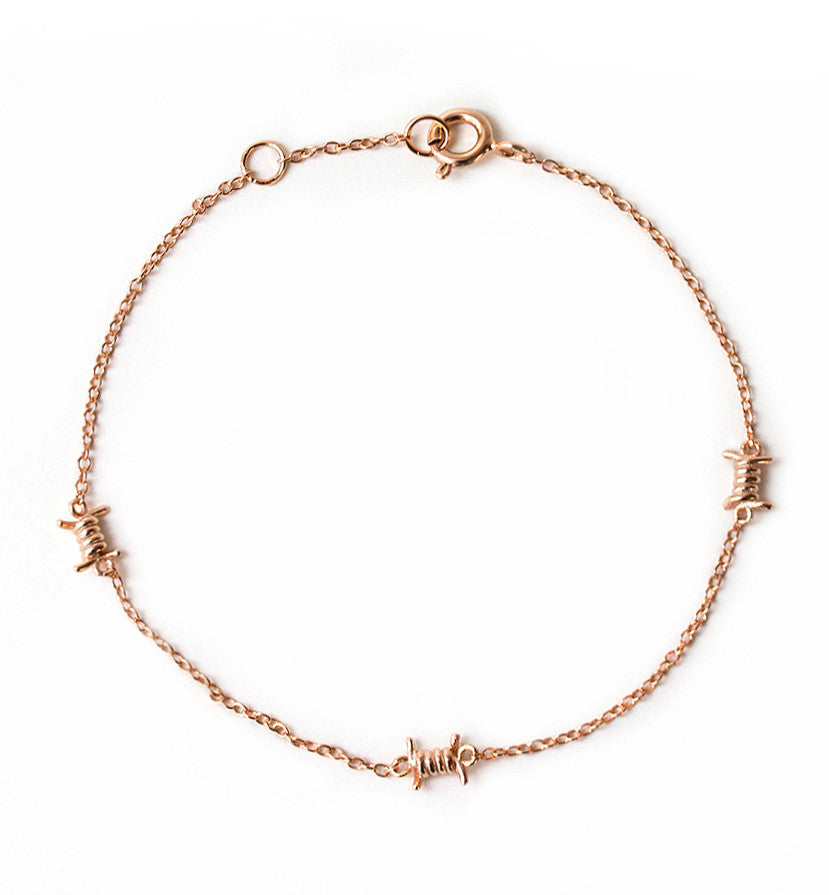 Dainty Rose Gold Barbed Wire bracelet