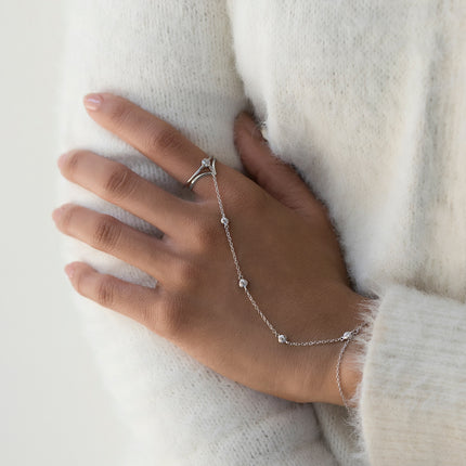 Crystal Pave Ring Handchain