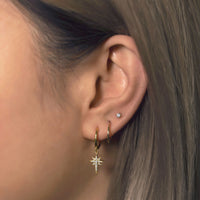 Star Dangle Huggies, Thin Gold  Huggie Hoop and Tiny Sapphire Crystal Stud Earring