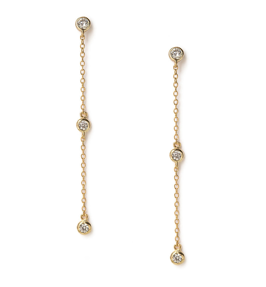 Dainty Gold Crystal Drop Earrings