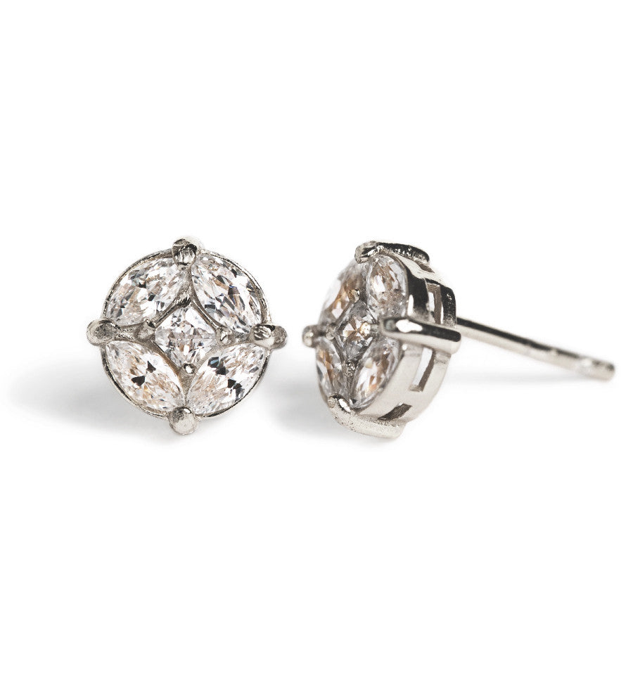 Deco Motif Silver Stud Earrings, Earrings - AMY O. Jewelry