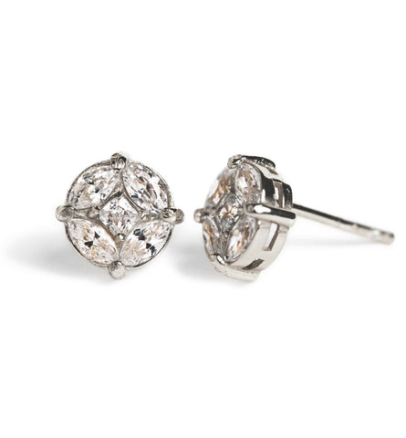Deco Motif Silver Stud Earrings