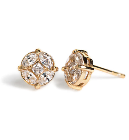 Deco Motif Gold Stud Earrings