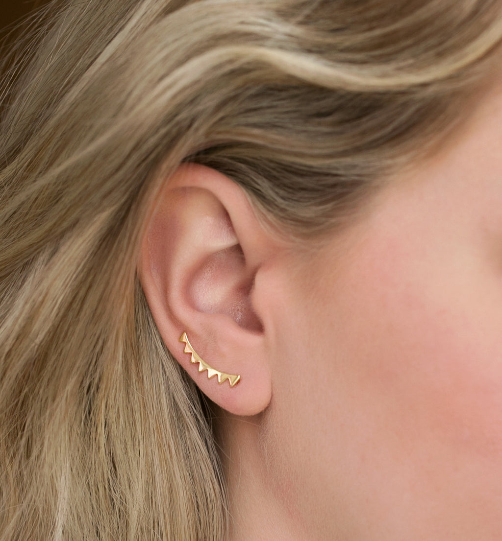 Triangle Gold Climber Earrings, Earrings - AMY O. Jewelry