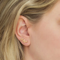 Leaf Ear Climber Earrings, Earrings - AMY O. Jewelry