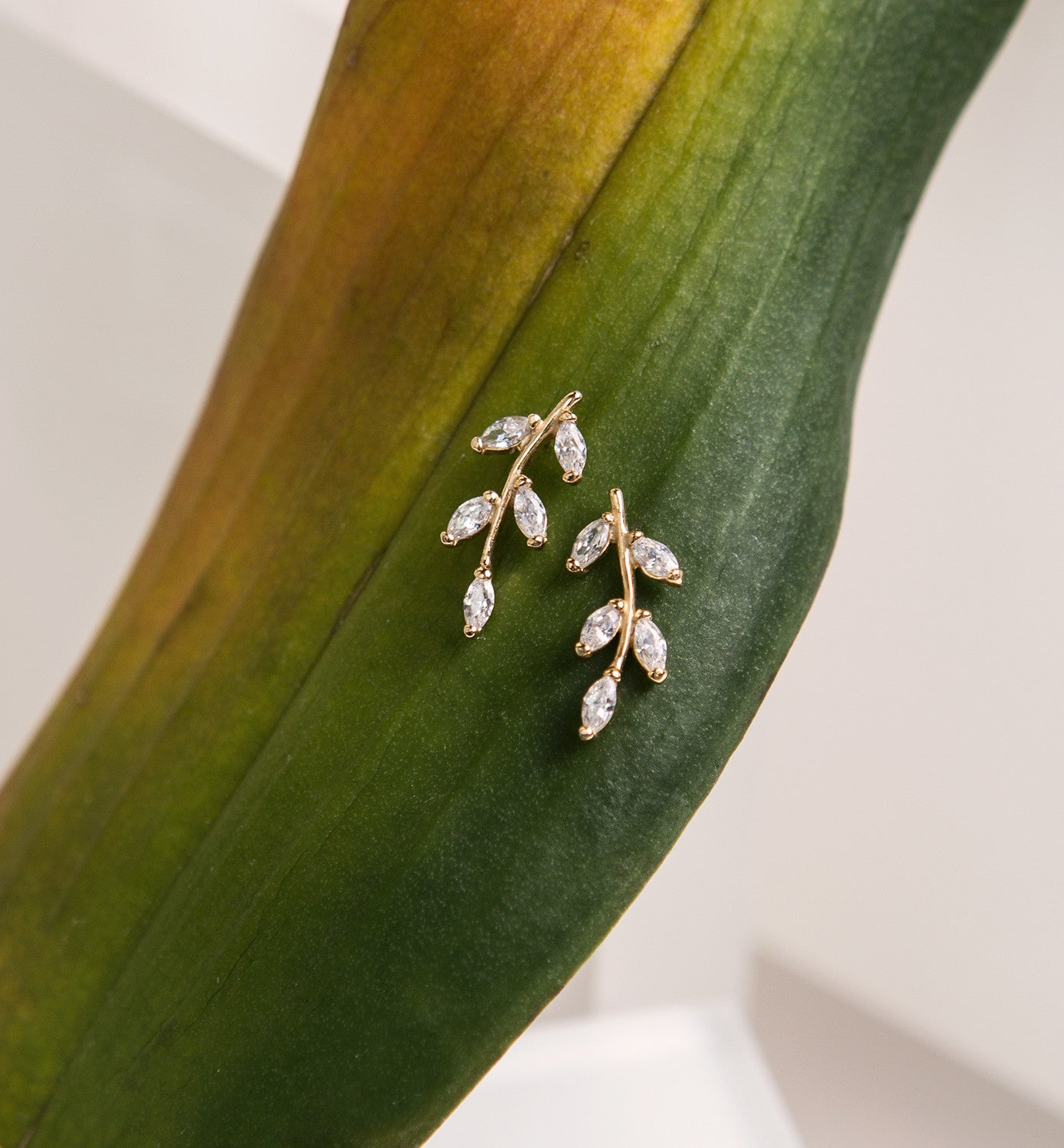 Crystal Leaf Ear Climbers, Earrings - AMY O. Jewelry