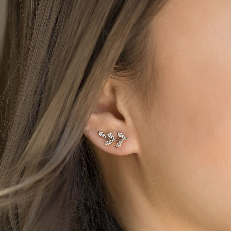 Crystal Leaf Ear Climbers