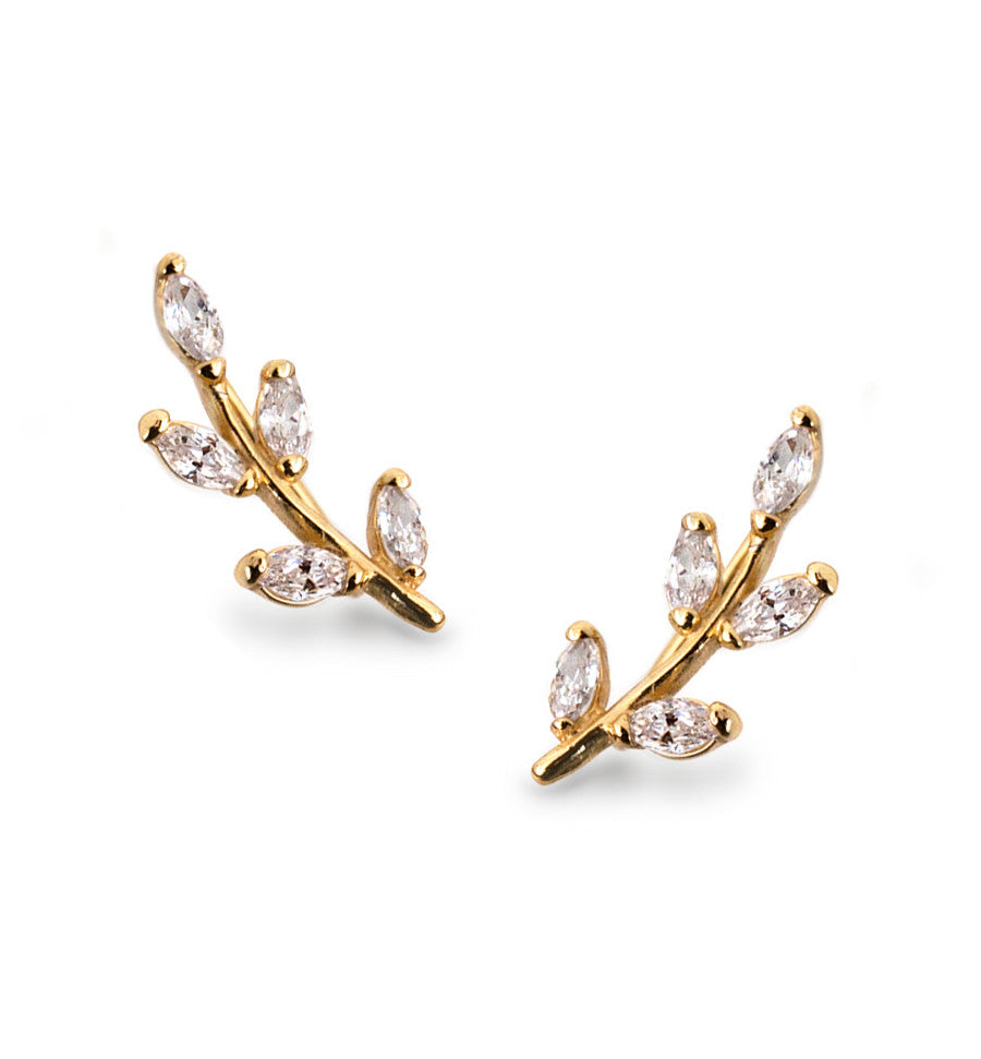 Gold Crystal Leaf Ear Climbers, Earrings - AMY O. Jewelry