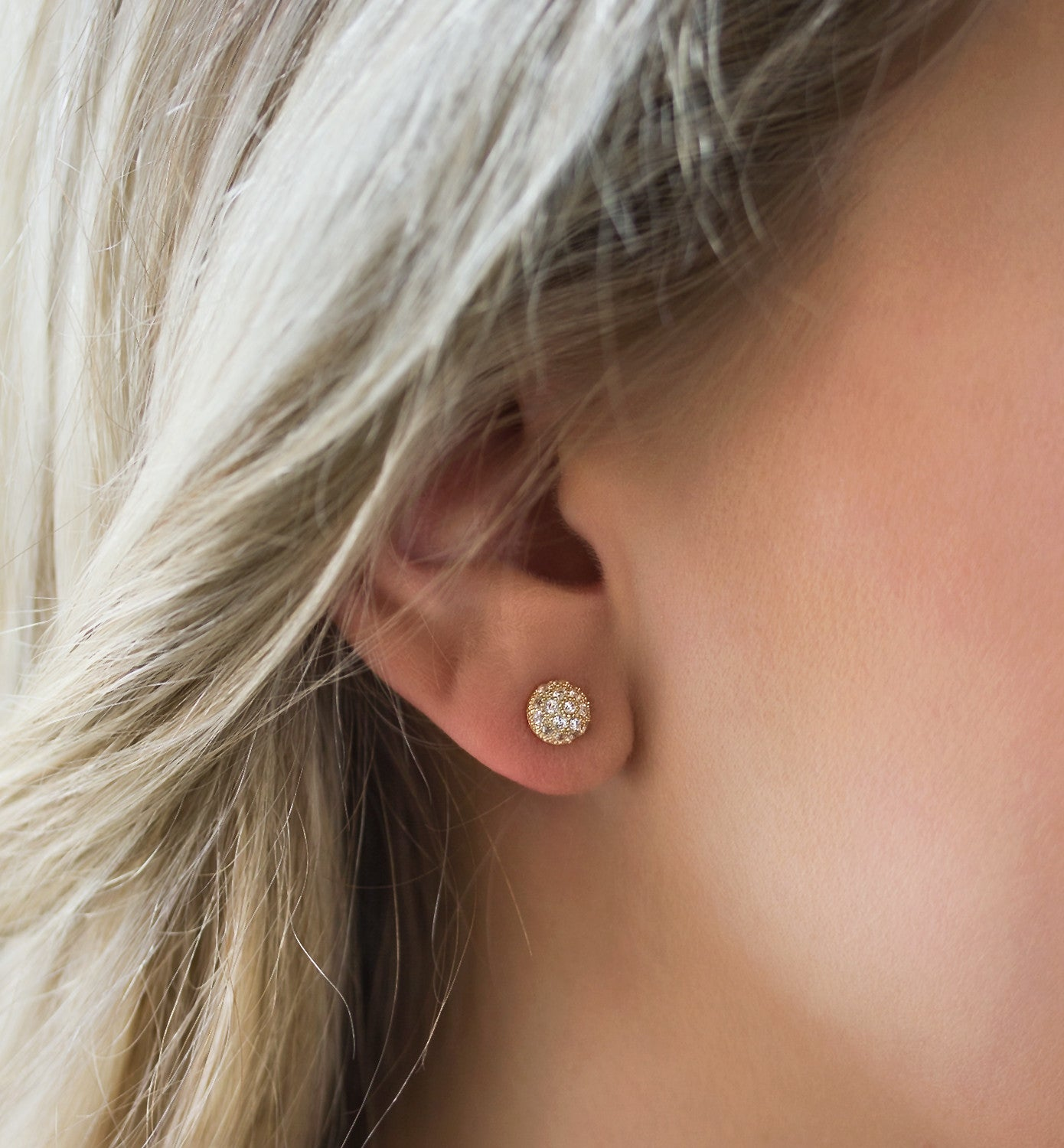 Gold CZ Pave Dome Studs