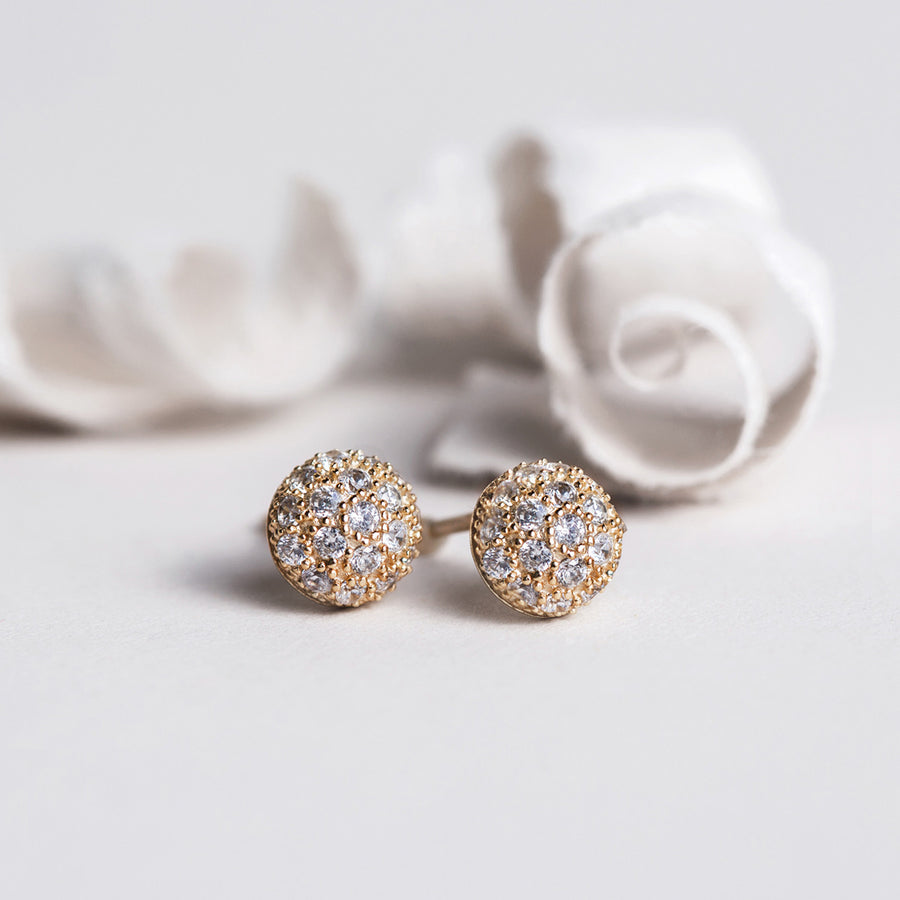 Pave Dome Stud Earrings, Earrings - AMY O. Jewelry