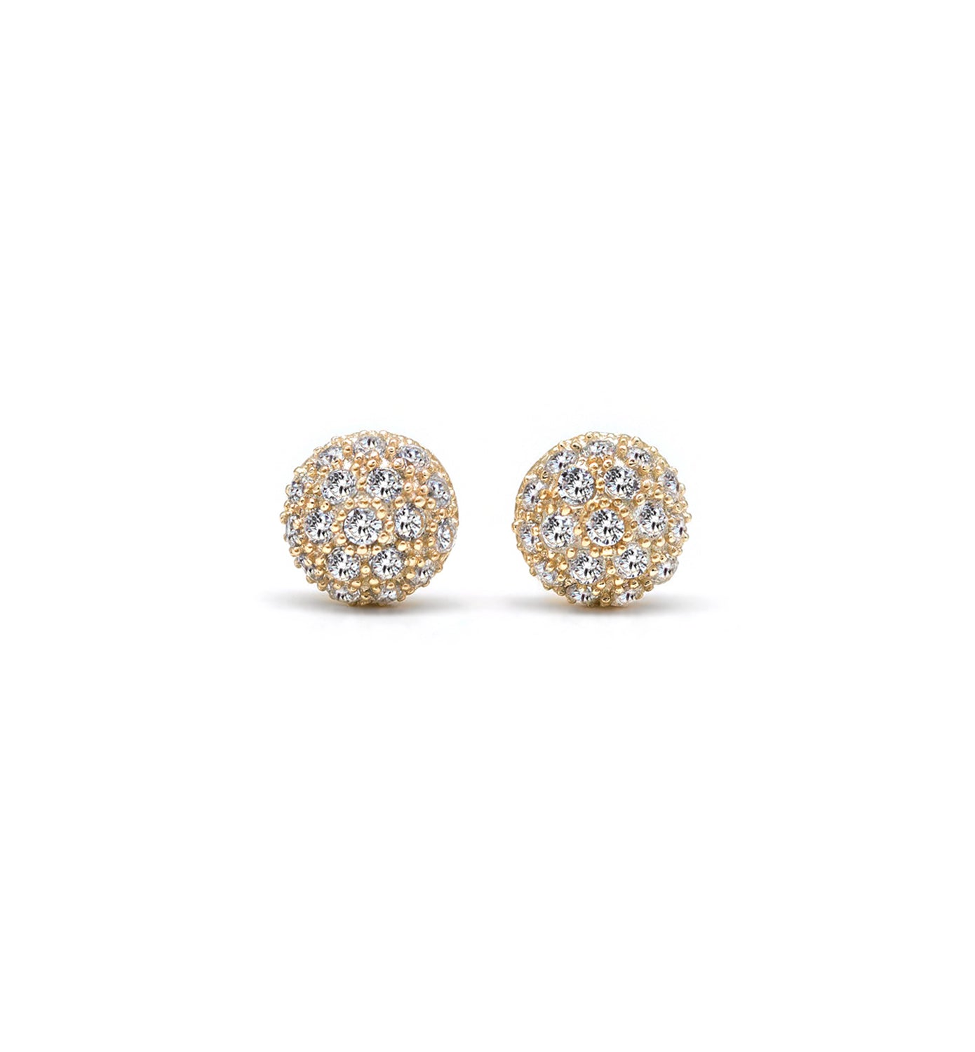 14K Gold Vermeil Pave Dome Stud Earrings