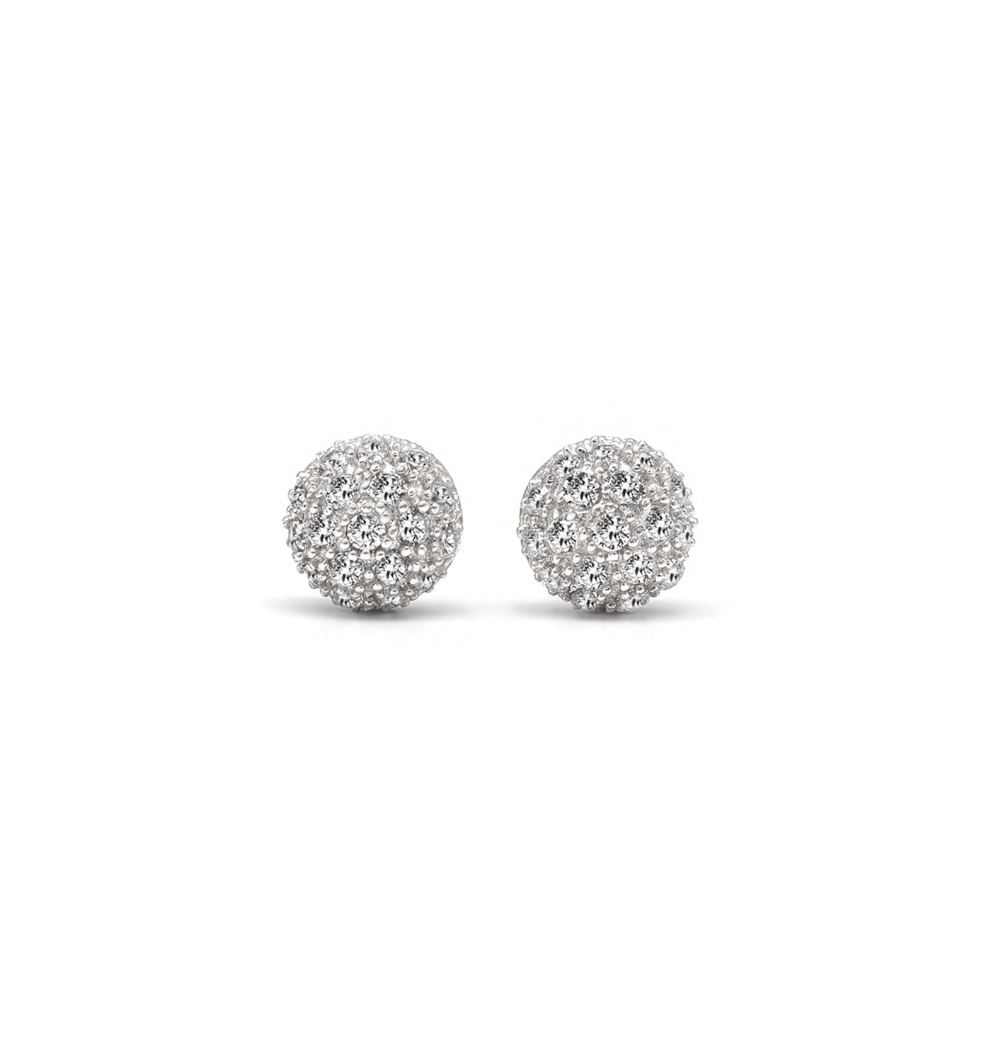 Sterling Silver Pave Dome Earrings